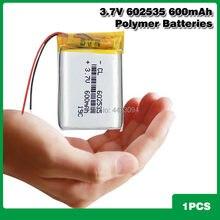 Перезаряжаемая литий-полимерная литиевая батарея 602535, 3,7 в, 600 мАч, литий-полимерная ионная батарея, запасная мини-батарея 602535, литий-ионная б...