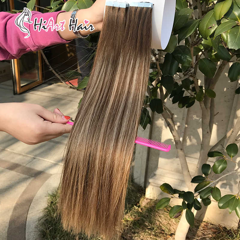 HiArt 2g Tape Hair Extensions Remy Tape In Human Hair Salon Double Drawn Hair Tape Human Hair Straight Balayage Hair Extension