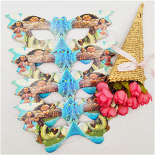 10pc Moana Party Supplies Cartoon Pattern Paper Mask Kids Birthday Theme Decoration Set Eye Cover Baby Shower Favors