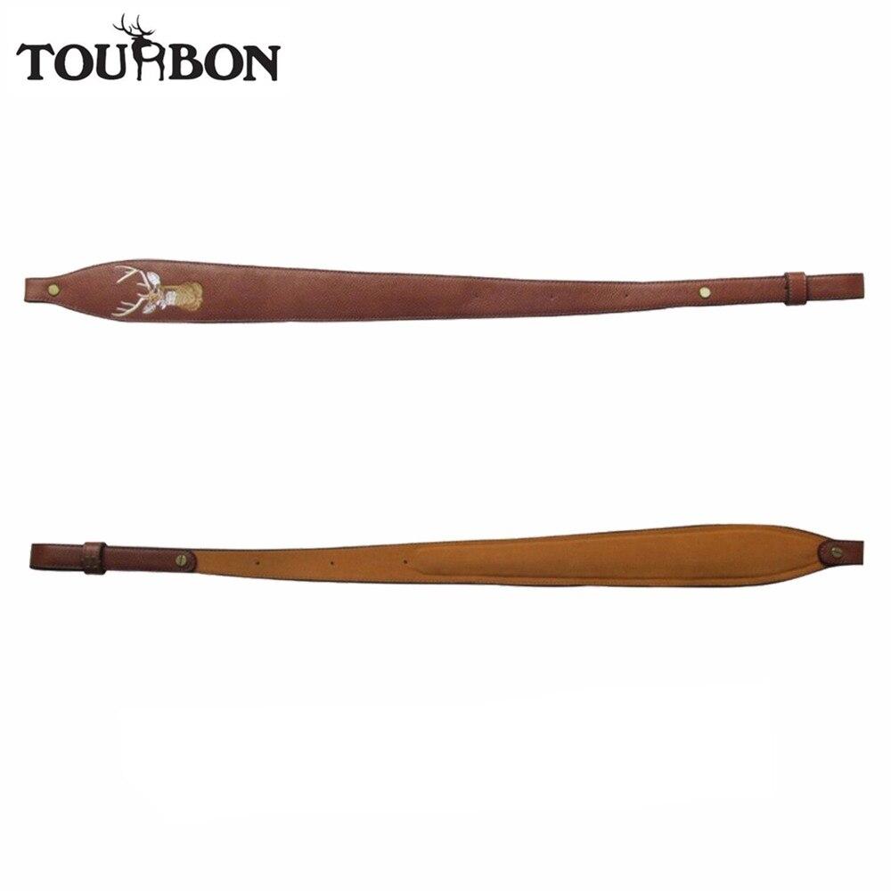 Tourbon Vintage Adjustable Genuine Leather Rifle Sling Belt Shotgun Strap Brown Airsoft Shooting Hunting Gun Accessories