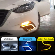 Car Flashing 1Pair DRL For Mazda 3 Axela 2014 2015 2016 Daytime Running Lights fog lamp cover headlight 12V Daylight with Yellow