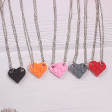 Fashion Building Brick Heart Necklace for Women Men Girlfriend Couple Valentine's Gifts Punk Friendship Blocks Beads Necklace