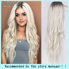 Nayoo 28inch Blonde Wig Long Wavy Ombre Platinum Blonde Synthetic Wig For Women Daily Party Wig Two Tone Natural Middle Part Wig
