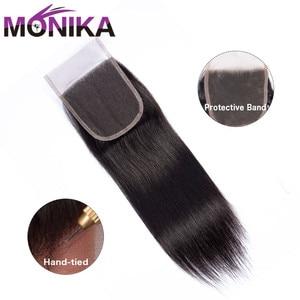 Image 3 - Monika fechamentos de cabelo peruano fechamento em linha reta do cabelo humano 4x4 fechamento do laço suíço 1 peça não remy cabelo frete grátis