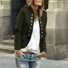 Women Stand Collar Coats Jackets ZANZEA 2019 Autumn Winter Long Sleeve Overcoats
