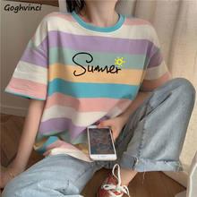 T-shirty damskie nadruk w paski Preppy Casual luźny koreański styl Ins Chic BF letni studenci cały mecz codzienne Harajuku gorąca sprzedaż