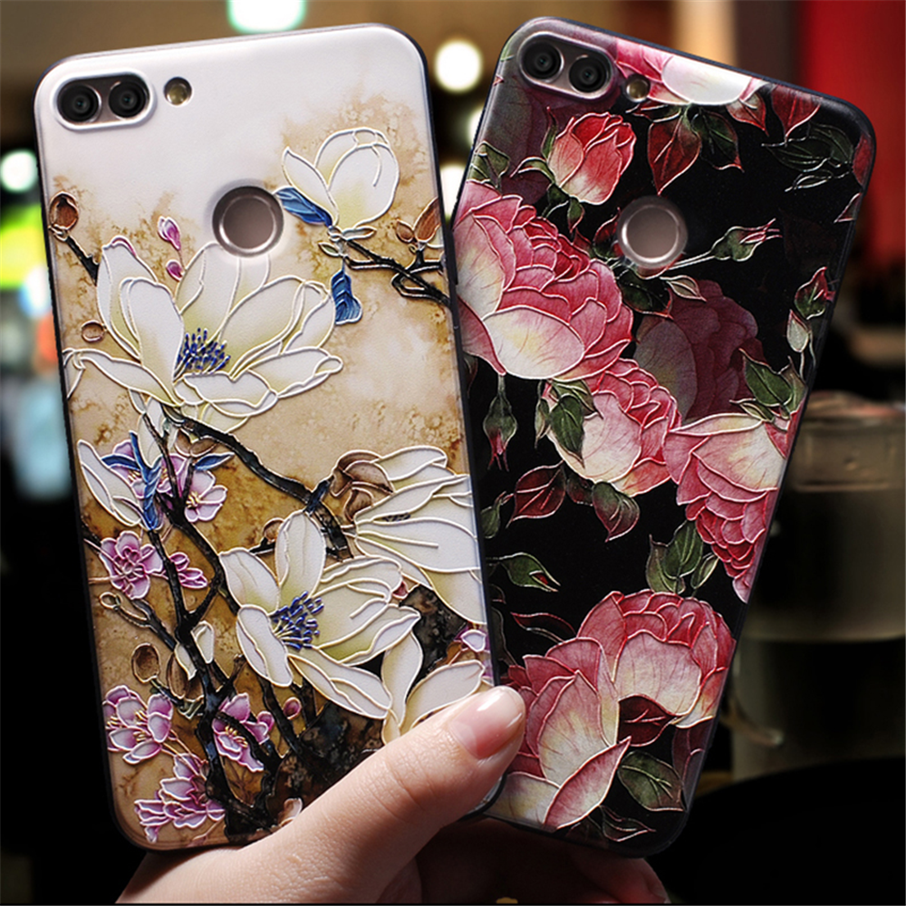 3D Emboss Flower Patterned Silicone Soft Case For <font><b>Huawei</b></font> Honor 8X 9 10 20 Play Lite Y6 <font><b>Y7</b></font> Y9 Pro <font><b>2017</b></font> 2018 2019 Nova 3 3i 4 Case image