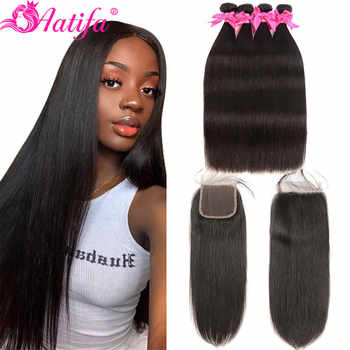 Aatifa Brazilian Straight Hair Bundles With Closure Human Hair Bundles With Closure Remy Bundles With Closure Hair Extension - DISCOUNT ITEM  51% OFF All Category