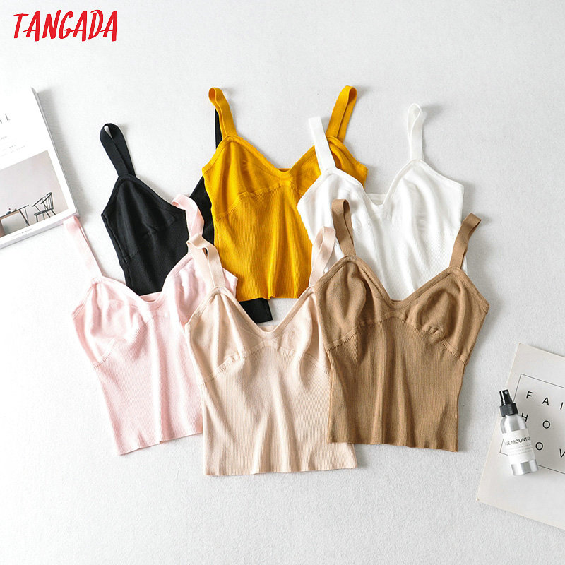 Tangada Women Knit Camis Tops Straps Sleeveless Backless Sexy Shirts Female Casual Summer Chic Tops AI01