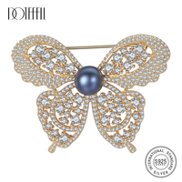 DOTEFFIL Genuine 925 Silver Brooch Zircon Inlay Butterfly Brooch Natural Freshwater Pearls Brooch Women Fine Jewelry Gift Party