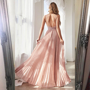 Image 4 - Collection 2020 Sexy Pink Long Prom Dresses Straps Spaghetti Beaded Pleats Formal Evening Gown Party Dress Backless In Stock