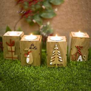 Candlestick-Ornaments Wooden Handmade Home-Party-House Christmas Winter Decor Mini Xmas-Tree