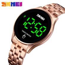 ספורט דיגיטלי שעון SKMEI מותג גברים של שעוני יוקרה נירוסטה גברים שעוני יד LED אור תצוגה אלקטרוני שעון צמיד