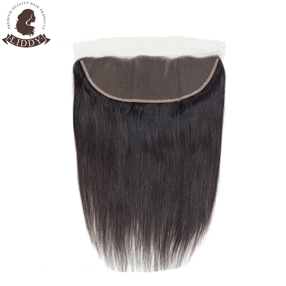 Liddy Lace Frontal Closure Brazilian Straight 100% Human Hair 8-20 Inch Free Part 13x4 Swiss Lace Non-remy Natural Color