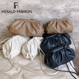 Herald Fashion Day Clutch Evening Party Purse Bag Women Big Ruched Pillow Bag Leather Pouch Handbag Bag White Black Green 2019(China)