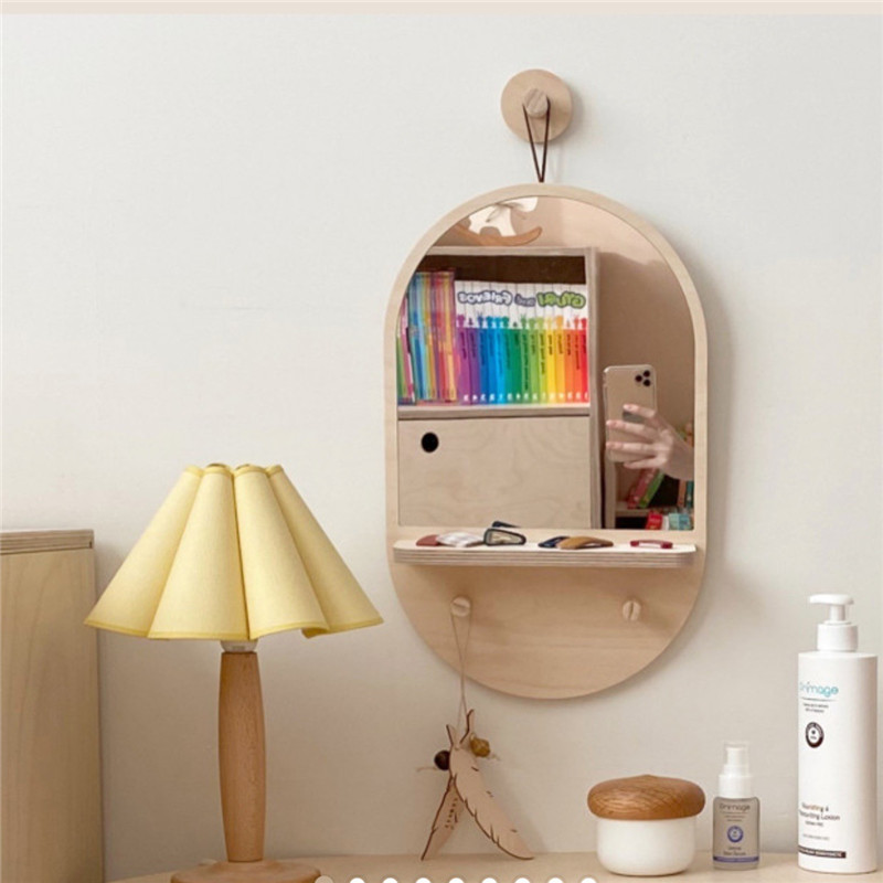 Korean Style Wooden Mirror Dressing, Wall Hanging Mirror With Storage