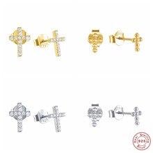 Boucles d'oreilles scintillantes pour femme, bijoux de mariage, en argent sterling, strass, cristal, élégant, Design croisé, A30