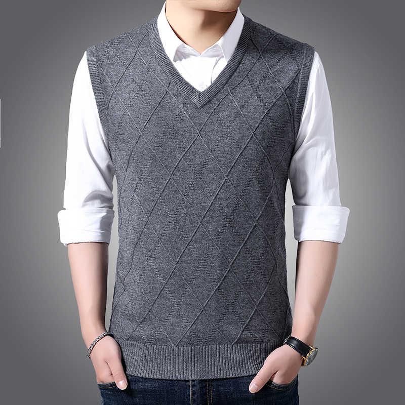 새로운 패션 브랜드 스웨터 망 풀오버 V 목 슬림 맞는 점퍼 Knitred 조끼 민소매 가을 한국 스타일 캐주얼 남성 의류