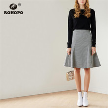 ROHOPO High Waist Ruffled Flared Houndstooth Grey Midi Skirt Office Ladies British Academy Mid Calf Falda # 9600