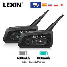Lexin auriculares R6 para casco de motocicleta, Intercomunicador inalámbrico Bluetooth para 2 conductores, 1200m, interfono manos libres