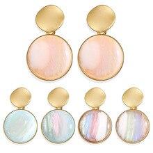 Metal Acrylic Round Shape Earrings For Women Female Retro Fashion Simple Multicolor Trendy Drop Jewelry