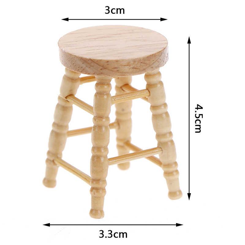 1/12 Rumah Boneka Miniatur Aksesoris Mini Kayu Bangku Simulasi Furnitur Model Mainan untuk Dekorasi Rumah Boneka