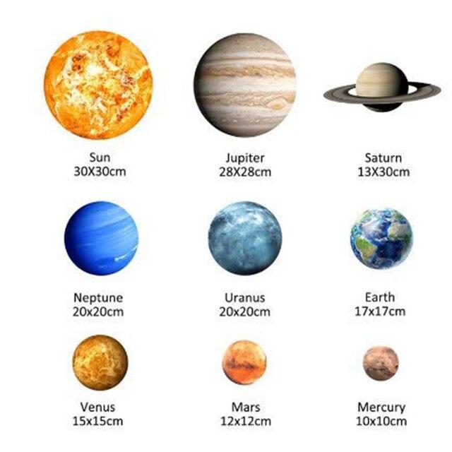 Bâton mural Fluorescent | 9 planètes, système solaire, la planète de lunivers, galaxie, pour chambre à coucher, pour enfants, Sticke mural lumineux