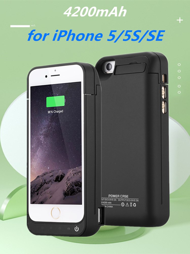 KQJYS 4200mAh External Portable Power Box <font><b>Battery</b></font> Power Pack Charger Cover for <font><b>iPhone</b></font> 5 <font><b>5S</b></font> SE <font><b>Battery</b></font> <font><b>Case</b></font> image