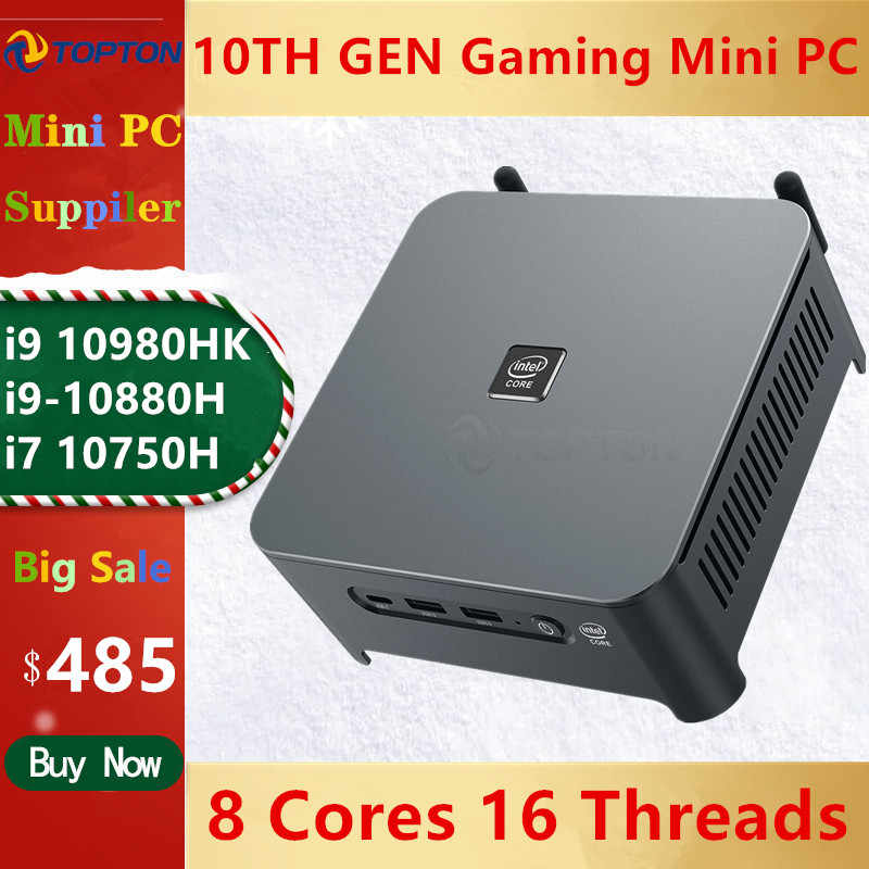 Topton 10th gen core i9 10980hk i7 10750h mini pc 2 lans windows 10 2 * ddr4 2 * nvme gaming computador dp hdmi tipo-c 3x4k exibição