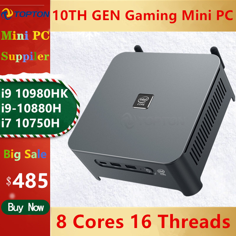 TOPTON 10-го поколения Core i9 10980HK i7 10750H Mini PC 2 Lans Windows 10 2 * DDR4 2 * NVMe игровой компьютер DP HDMI Type-C 3x4K дисплей