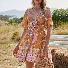 Bohemian Ladies Dresses Spring Summer The New Fashion Loose Romantic Thin Best Sellers Printing Bowknot Bandage V-neck