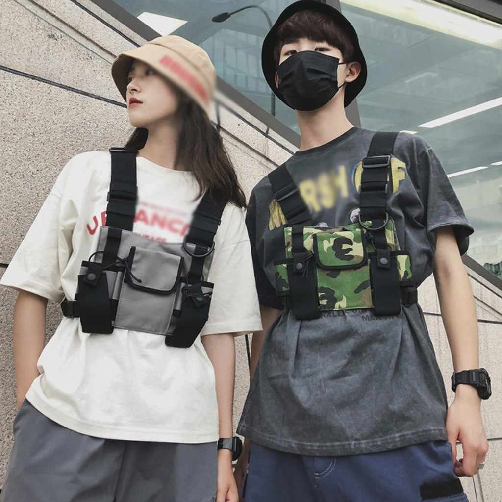 Unisex Fashion Nylon Chest Rig Bag Trend Multi-Function Black Vest Hip Hop Streetwear Oxford Tactical Harness Chest Vest Bag