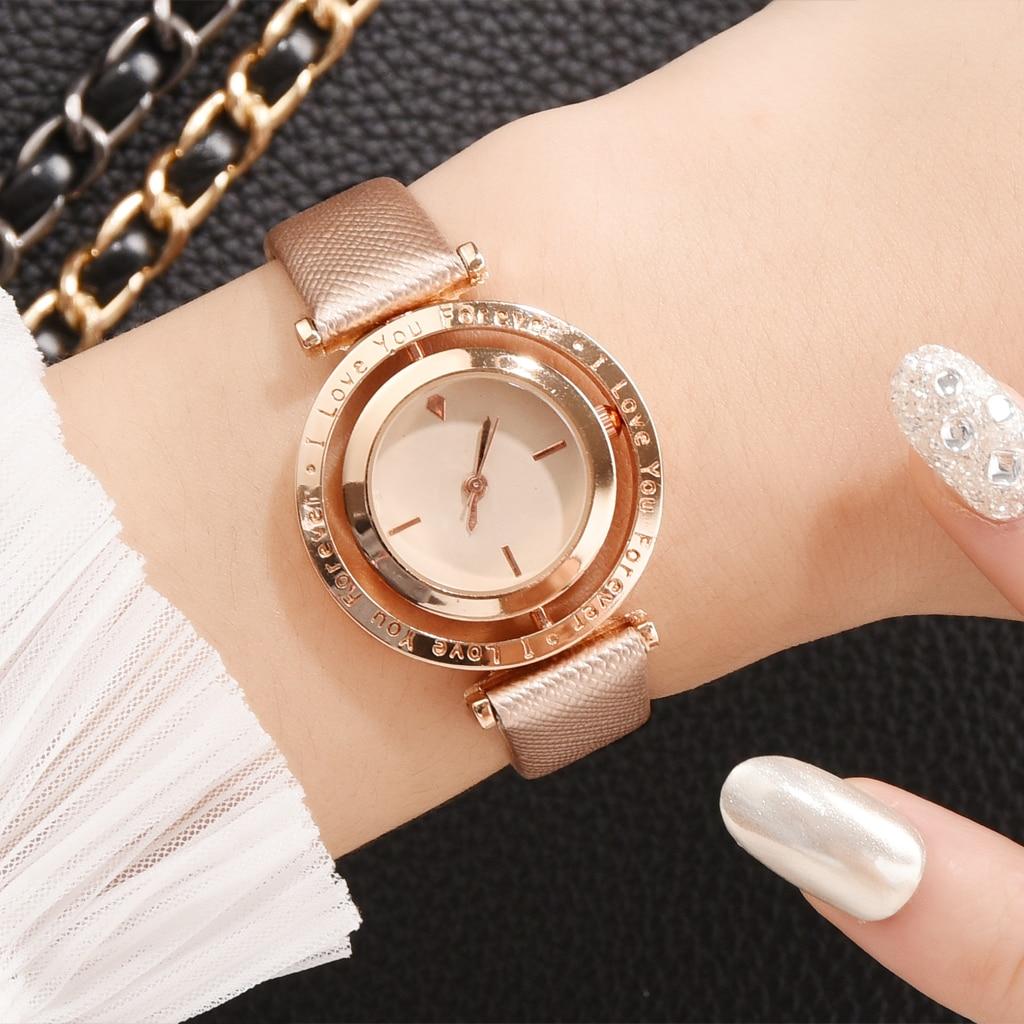 Luxury Women Watches Rose Gold Leather Ladies Wrist Watches Color Dial Women Bracelet Watch Female Clock New Relogio Feminino
