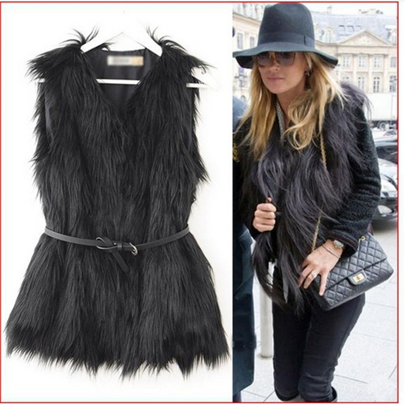Focal20 High Street Women Faux Fur Coat Winter Slim Sleeveless Lady Faux Fur Vest Winter V Neck Plus Size Women Coat 1