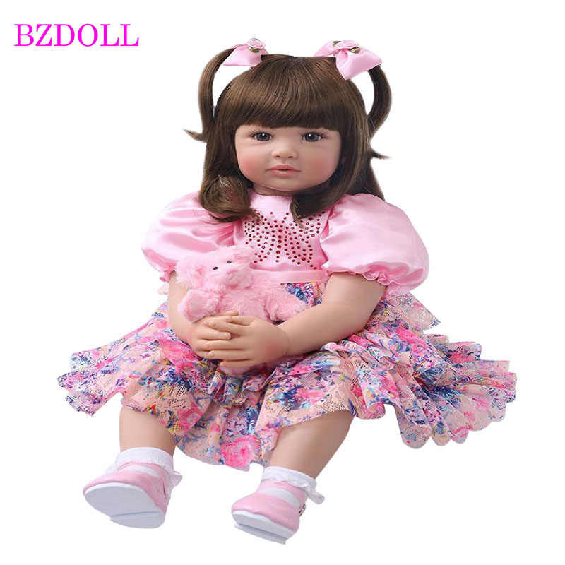 "Real Life Baby Dolls 24/"" Silicone Bebe Reborn Toddler Dolls Long Hair Girls Toys"
