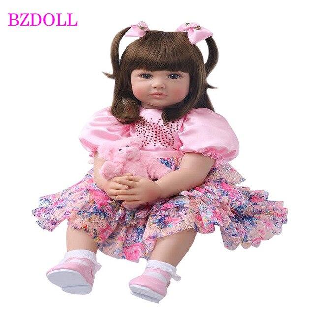 """24 """"silikon yeniden doğmuş bebek bebek oyuncak bebekler 60cm prenses kız gibi canlı Bebe kızlar Brinquedos sınırlı koleksiyon doğum günü hediyesi"""