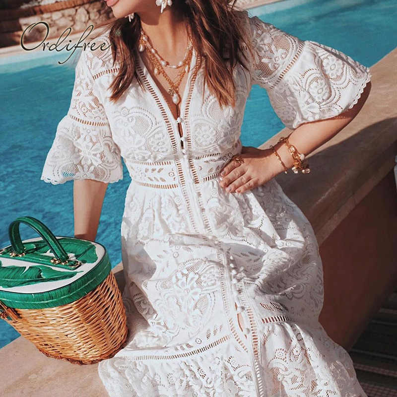 Ordifree 2019 ฤดูร้อนผู้หญิงชุดวินเทจแขนสั้นลูกไม้สีขาวชุดชายหาดวันหยุดเสื้อผ้า