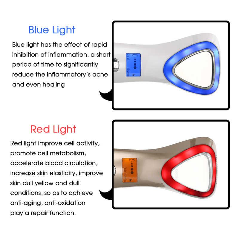 De la crioterapia frío caliente cara de martillo de luz LED Photon Facial de iones del Massager del cuidado de la piel arrugas removedor de dispositivo de belleza