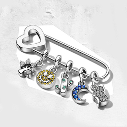 Jewelry 100% 925 Sterling Silver Fit Pandoras 1:1 ME Series 2019 Cute Smile Moon Butterfly Brooch Pin Female