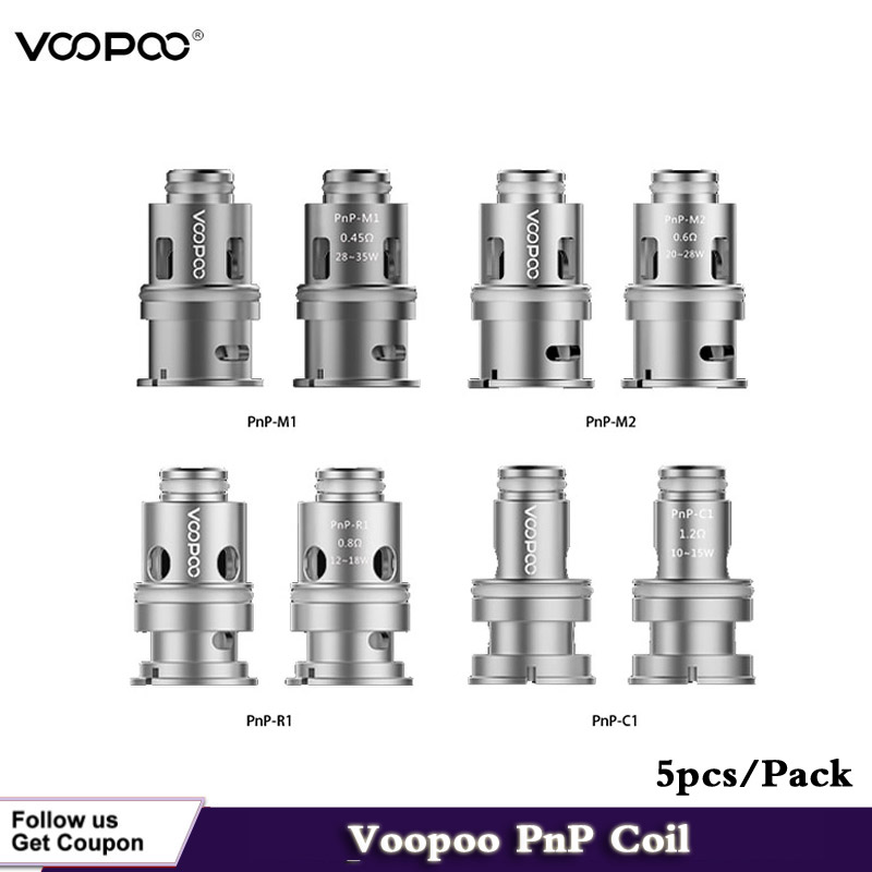 (5pcs/lot) Electronic Cigarettes Voopoo PnP Replacement Coil Mesh Coil Head 0.45ohm PnP-M1 /0.6ohm PnP-M2 /0.8ohm PnP-R1