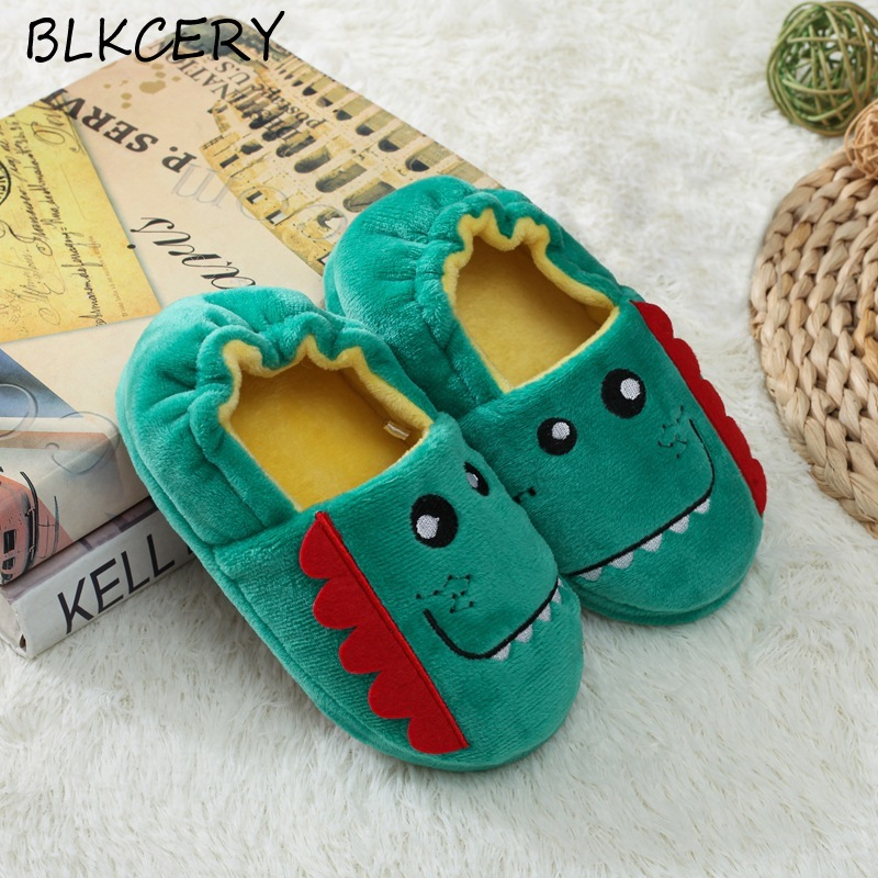 Toddler Boys Slippers Cartoon Plush Warm Shoes Little Kids Baby Winter House Shoes Boy Soft Rubber Sole Home Footwear Puppy Bear
