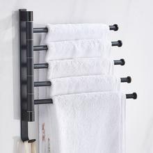 Bathroom Towel Rack Rotatable Towel Holder Space Aluminum 2/3/4/5 Bar Towel Hanger Kitchen Shelf Paper Hanging Wall Mounted