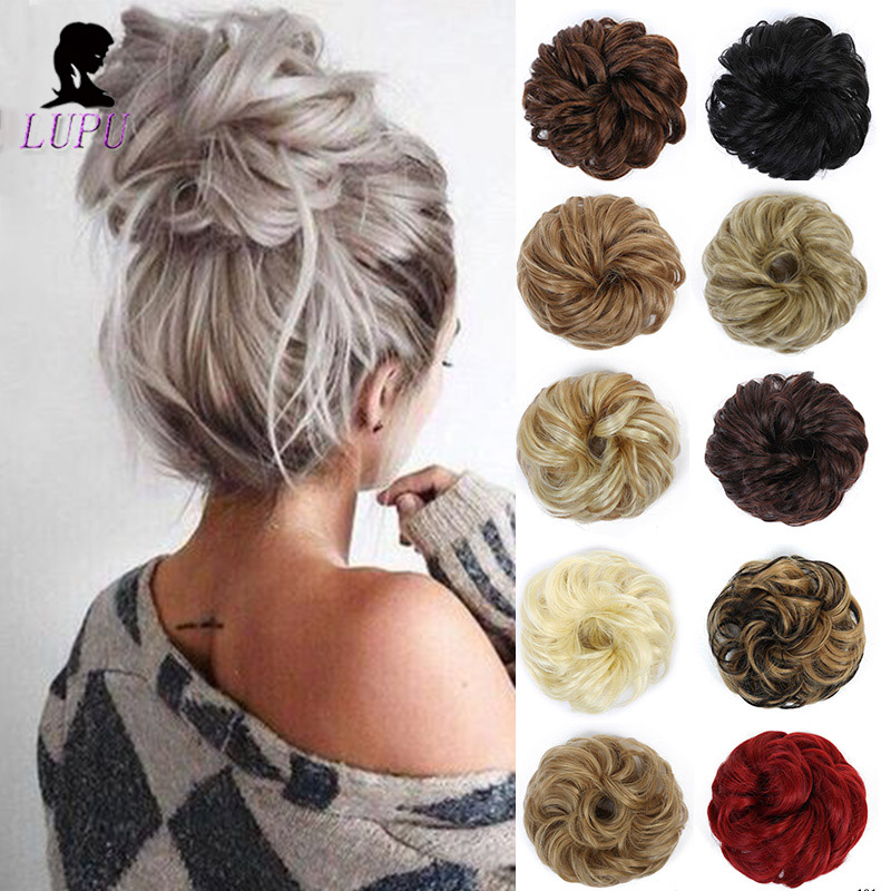 LUPU Messy Scrunchie Chignons Synthetic Hair Bun Elastic Band Updo Hairpieces Hair Extensions For Women Heat Resistant Fiber