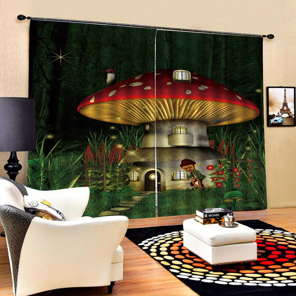mushroom curtains Customized size Luxury Blackout 3D Window Curtains For Living Room kids curtains