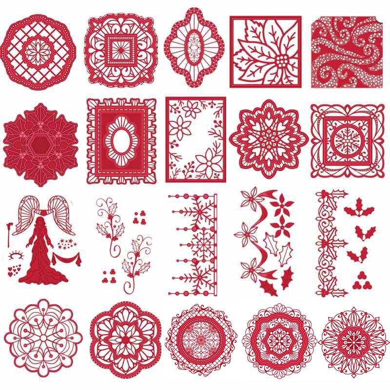 Árvores de natal Anjo Retro Floco De Neve Flores de Renda Armações De Metal Corte De Matrizes para Cartões de Papel DIY Scrapbooking Artesanato Novo 2019