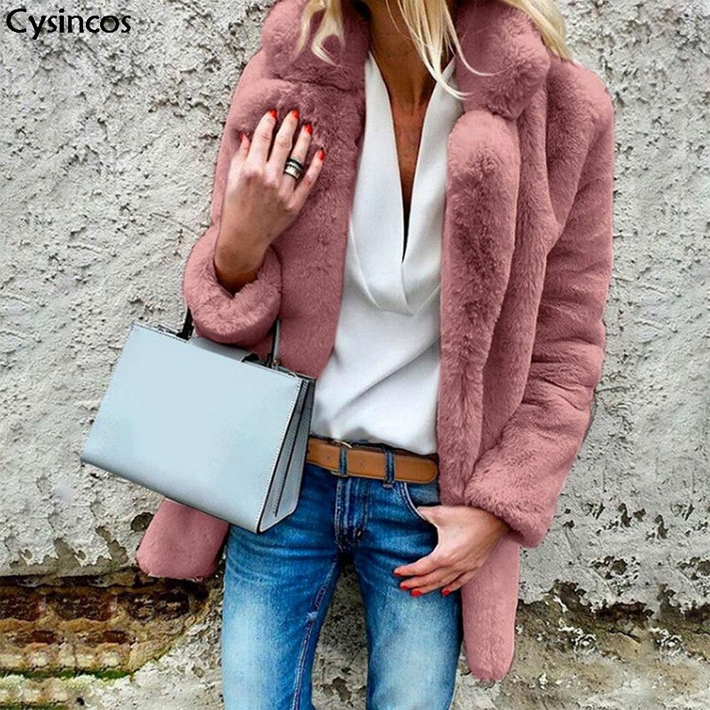 2019 Fashion New Winter Wram Women Faux Fur Coats Solid Open Point Outerwear Female Luxury Long Sleeve Thick Fluffy Jacket Coat