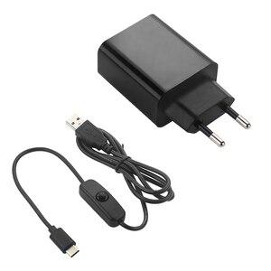 Raspberry pi adaptador de energia b, 5v 3a, fonte de alimentação ue eua, plugue 1m, interruptor de cabo usb carregador de fio para raspberry pi 4 modelo b