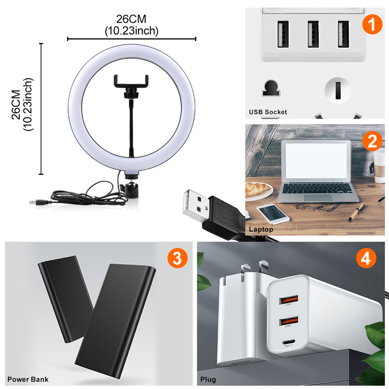 """He19cd035083b4649b0381611a861e8b1P PYNSSEU 26cm LED Ring Light with 1.1/1.6/2.0M Light Ring Stand Dimmable 10"""" Selfie Ring Lamp with Phone Clip for Youtube Makeup"""