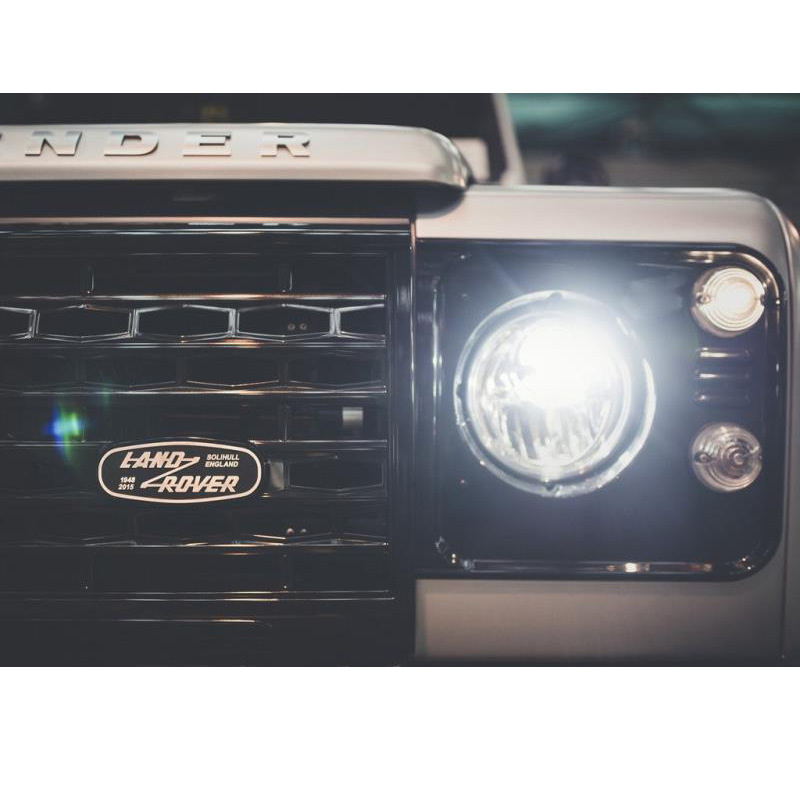 cheapest 14 5 5 5cm Aluminum Car Front Grille Emblem for Land Rover SOLIHULL ENGLAND Logo Defender 2015 Rear Trunk Badge Decoration