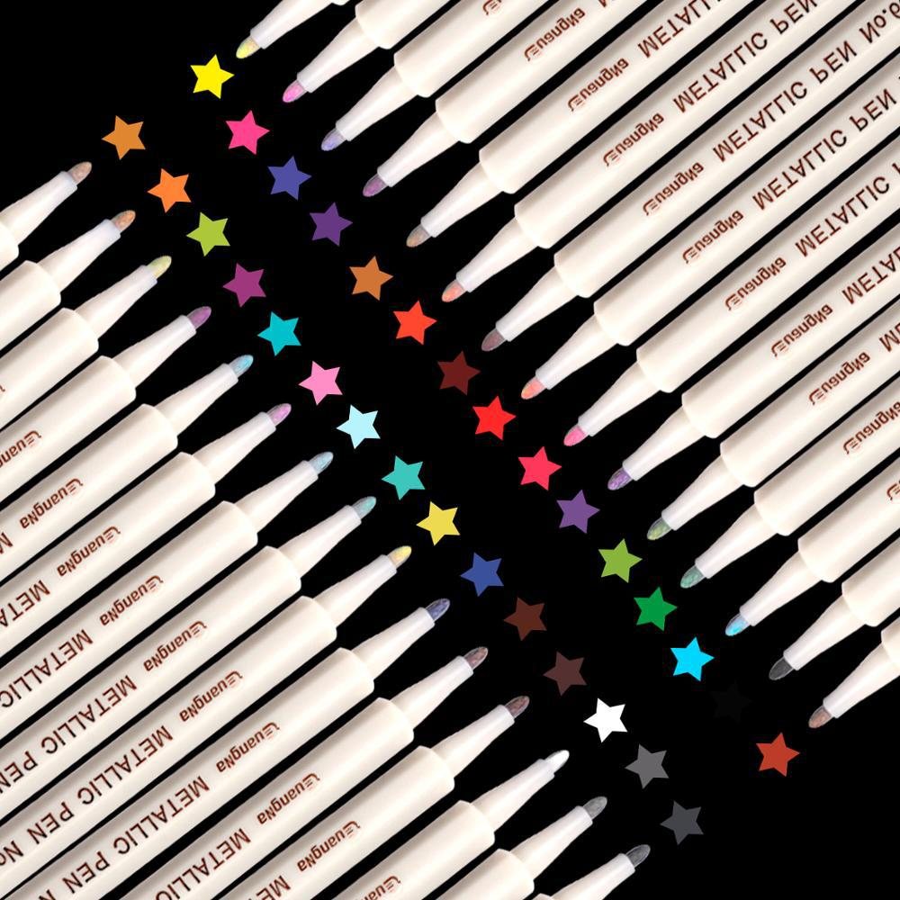 Cardboard Metal Pearl Pen Color Soft Pen Brush 12 Color Paint Pen Hand Account Marker Decorative Graffiti Photo Album Pencil
